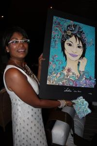 Sadhna with her portrait