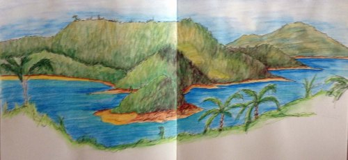Sketch of view from Hamilton Island. Watercolour pencil and ink August 2013