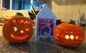 Halloween lamp and pumpkins