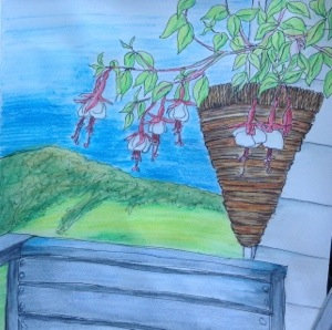 Verandah looking down the Pennyroyal Valley, Deans Marsh.  Ink and coloured pencil wash November 2013