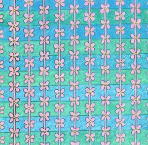 Daisy Chain blue and green 30 x 30cm Coloured pencil and ink