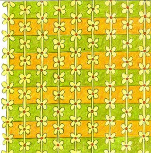 Daisy Chain gold and green 30 x 30cm Coloured pencil and ink