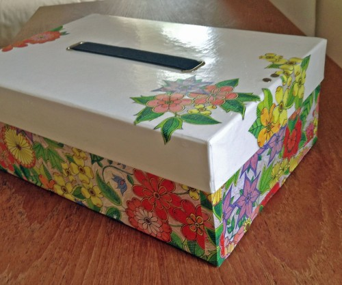 Box decorated with Johanna Basford design from the Secret Garden that I coloured in.