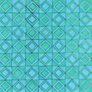 Squared, blue and green 30 x 30cm Coloured pencil and ink