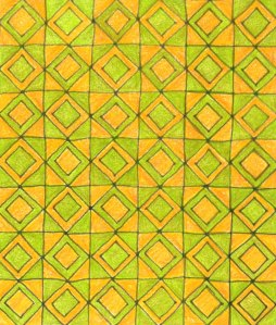 Squared gold and green 30 x 30cm Coloured pencil and ink