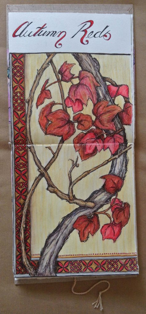 Autumn Red - Watercolour pencils and ink