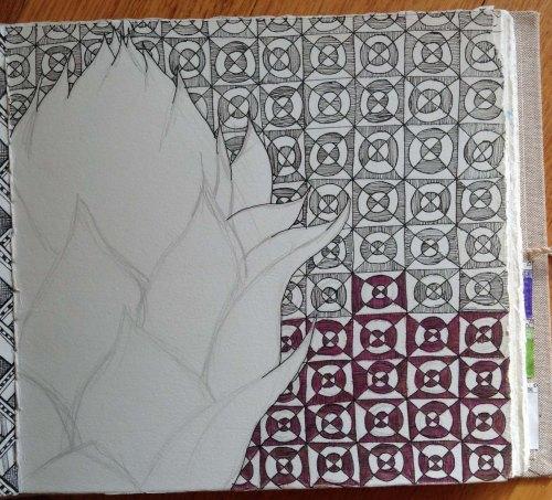 Artichoke Journal Page  Pen and watercolour pencil