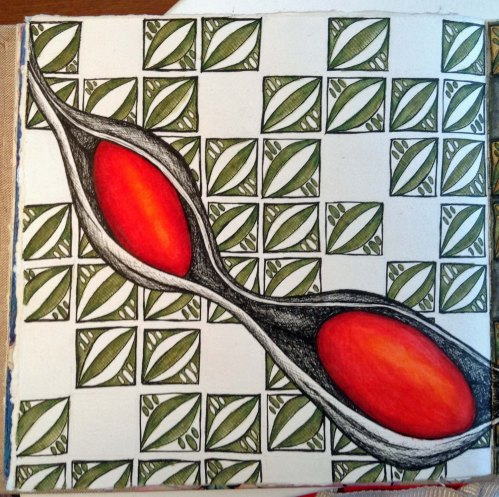 Coral Bean Plain pattern Journal Page  Watercolour pencil and ink