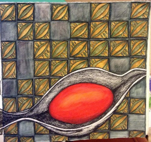 Coral Bean Full Background Watercolour pencil and ink