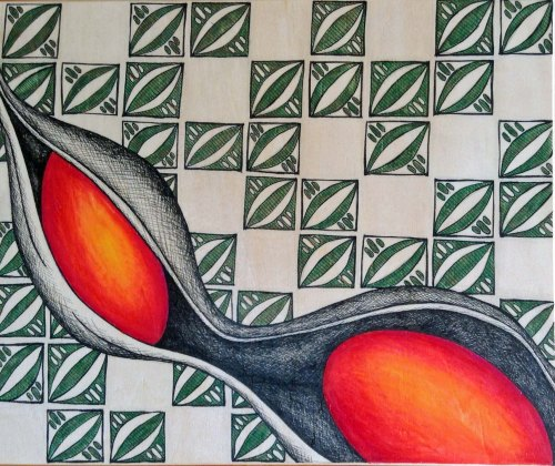 Blood Bean on Wood  Ink and Watercolour pencil 25 x 30cm