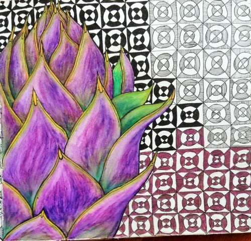 Artichoke 2 Journal Page Ink and watercolour pencils