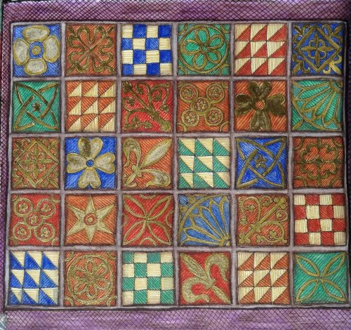 Medieval Tiles Journal Page  Ink and watercolour pencil