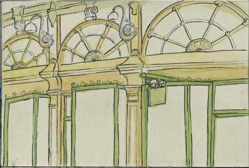 Royal  Arcade July 14 urban sketching Watercolour and Ink