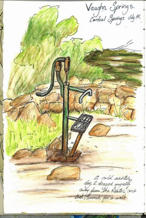Vaughan Springs Journal Page Jul 14  Ink and water colour pencils