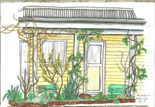 Castlemaine House In and watercolour pencil
