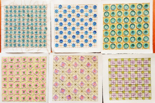 Pieced Patterns  Coloured Pencil, embroidery thread, ink and glass beads