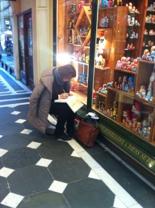 Sketching in Royal Arcade, it was very cold that day.