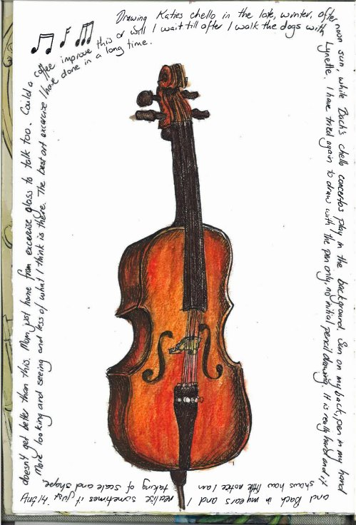 Cello Sketch pen and water colour pencil.  Drawn first with ink.