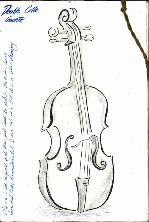 Cello Sketch pencil, ink and water colour pencil.  Pencil drawing first