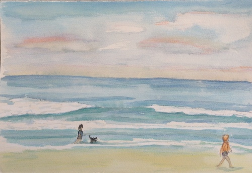 Seminyak Beach Sunrise Water Colour