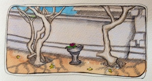 Temple Ubud Water colour, coloured pencils and ink journal