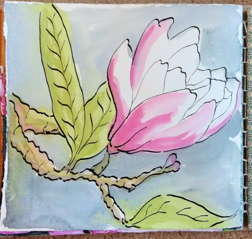 Spring Magnolia Journal Page Water colour and ink