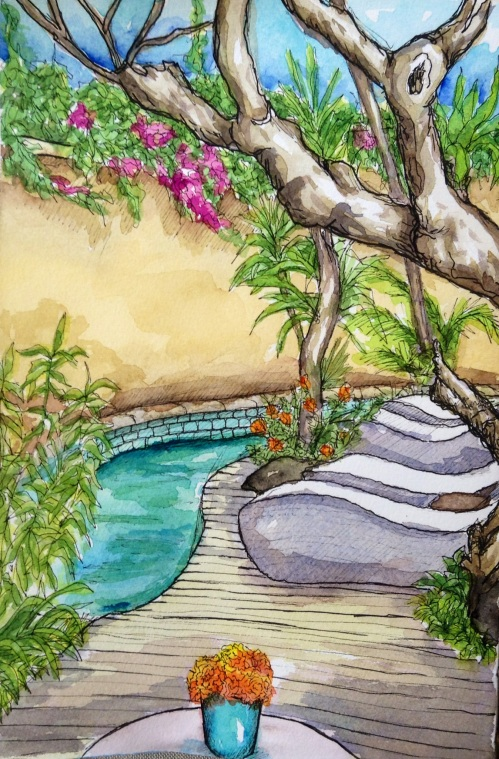 Drawing of courtyard at Villa Kresna, Seminyak Bali water colour and ink.