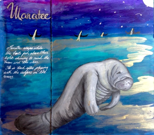 Manatee sleeping, Gouache, water soluble crayons and inks,