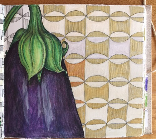 Eggplant Journal Page Ink and watercolour pencil