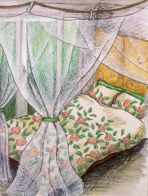 Green Bower, water colour pencil and ink journal page