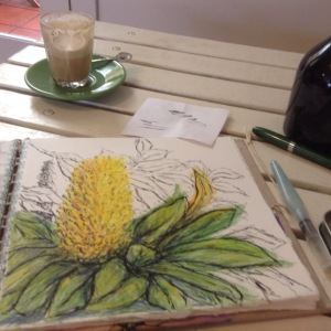 Finishing off the drawing with my last coffee.