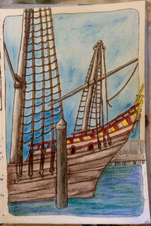 Duyfken 1600 sailing ship Fremantle Water colour pencils and ink