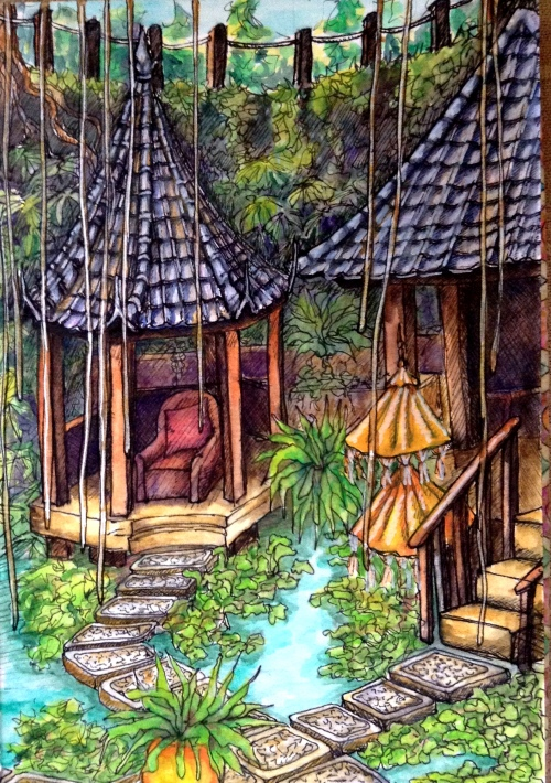Taksu Spa Ubud Bali Water colour and ink Bali Journal 2015