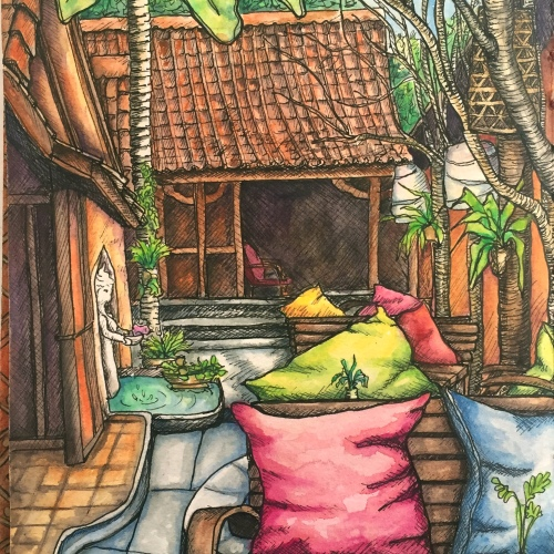 Cafe Bunete Ubud Bali. Watercolor and ink