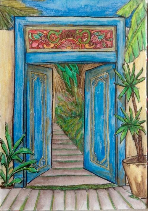 Balinese Door  Water colour and Ink Bali 2015 Journal