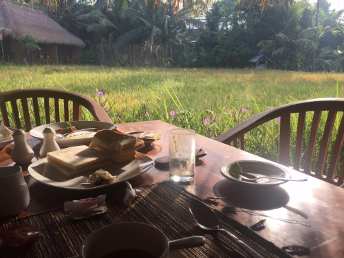 Breakfast over looking the rice fields  Ubud Bali