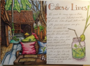Cafe spread  Watercolour and ink Bali Journal 2015