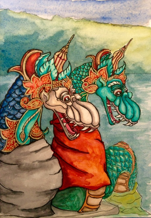 Water serpents at Lake Danau Beratan. Matt water colour and ink Bali Hournal 2015
