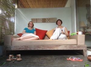Lynette and I on the day bed Ivory Resort Seminyak