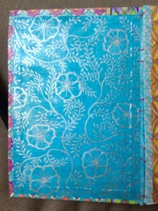 Inside front cover. Water soluble crayon and sliver ink