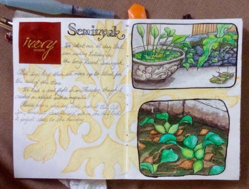 Seminyak page in journal Watercolour and ink