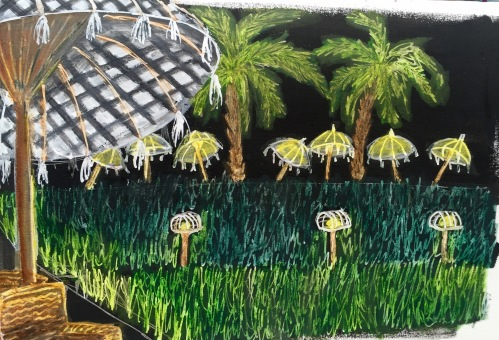 Sardine restaurant at night. Acrylic paint, white pen and water colour