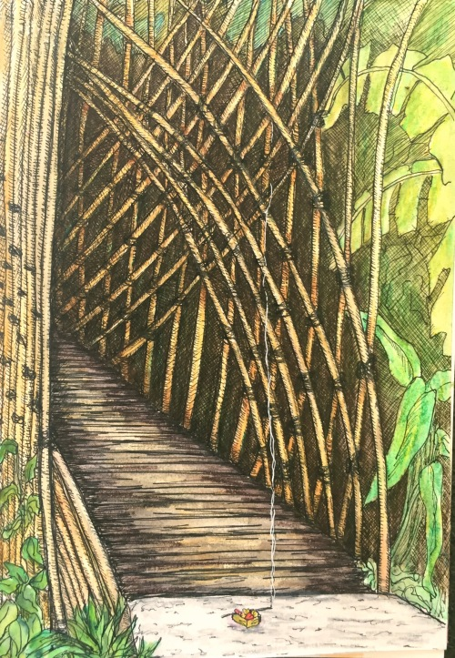 Bamboo Bridge Sapu Lidi Resort Ubud Ink and water colour Bali Journal 2015