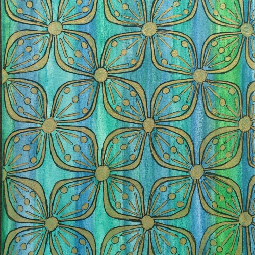 Balinese Pattern water colour and ink Bali Journal 2015