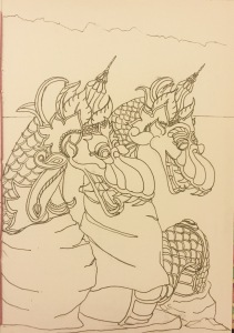 Line drawing of water serpents Ink Bali Journal 2015