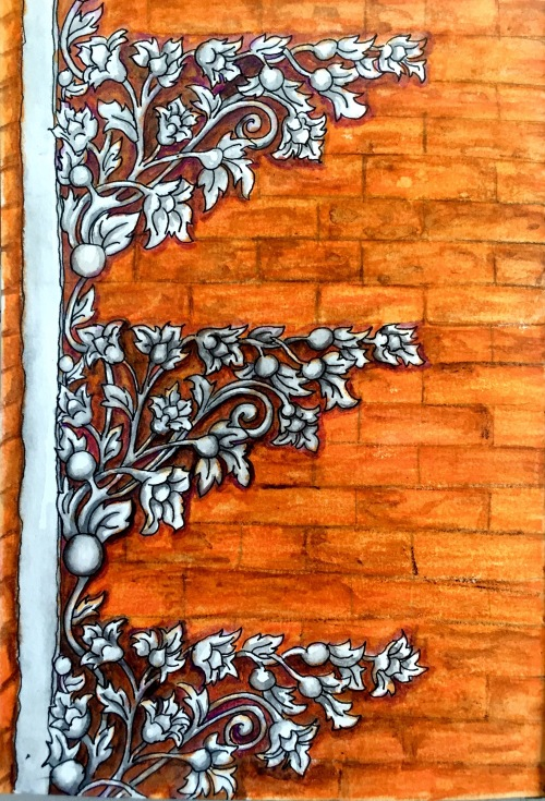 Ubud Palace Carving, Ink, graphite and water colour Bali Journal 2015