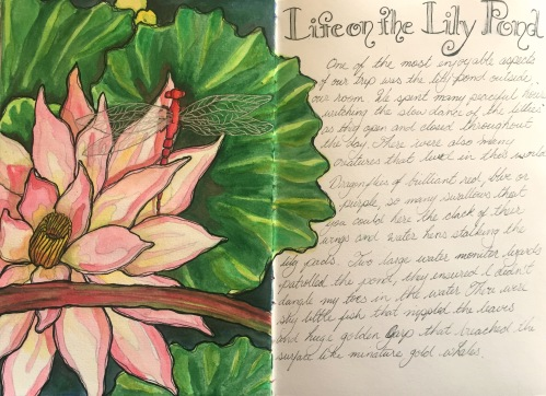 Life on the lily pond page Journal spread water colour and ink Bali journal 2015
