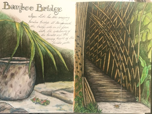 Bamboo bridge and Urn spread. Watercolour and ink Bali Journal 2015
