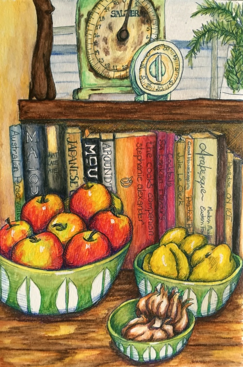 Bounty in a mid- century kitchen  Water colour and ink